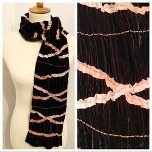 Velvet Beaded Embellished Brown Scarf Chocolate